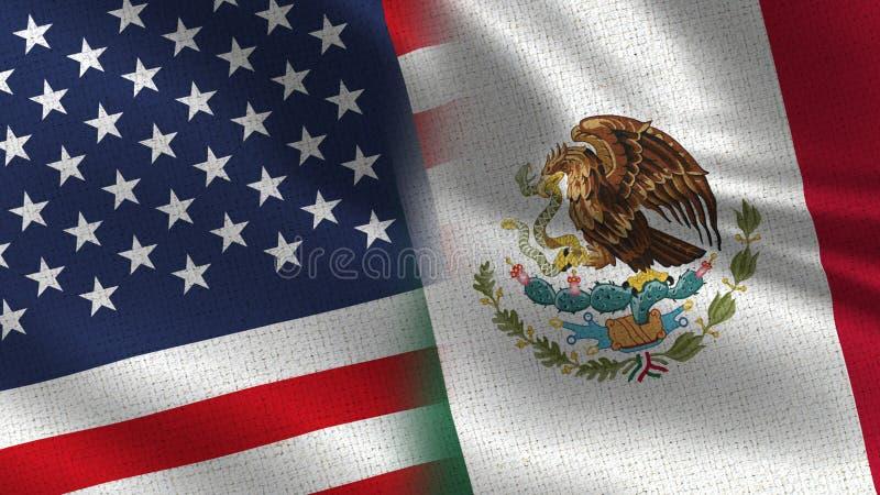 Les Etats-Unis et drapeaux réalistes du Mexique demi ensemble illustration libre de droits