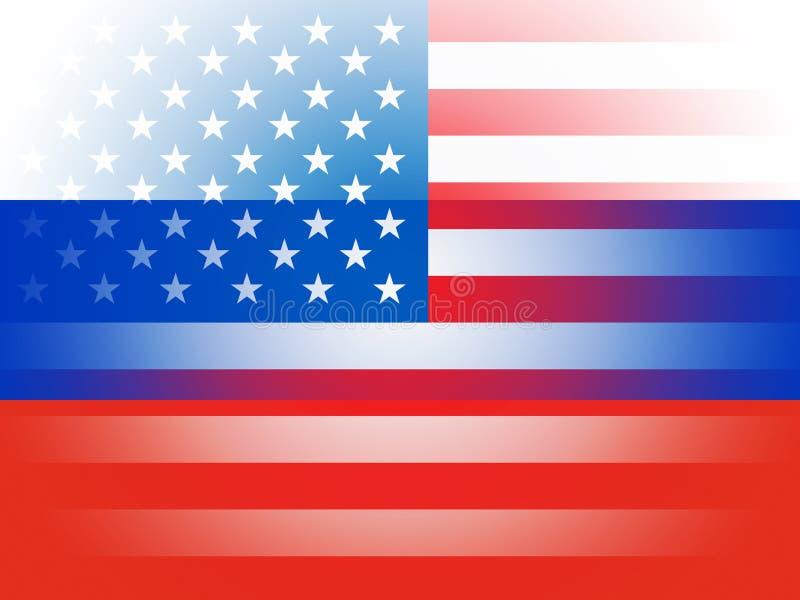 Les Etats-Unis et les drapeaux russes combinés représentant entailler illustration stock