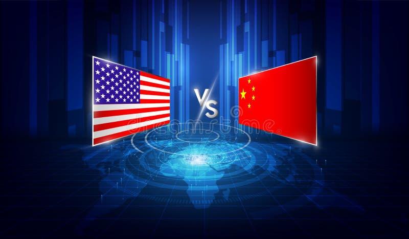 Les Etats-Unis et guerre commerciale de la Chine du concept d'affaires globales Illustration de vecteur illustration de vecteur