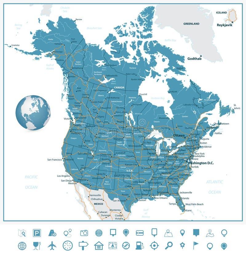 Les Etats-Unis et icônes de carte et de navigation de route de Canada illustration libre de droits