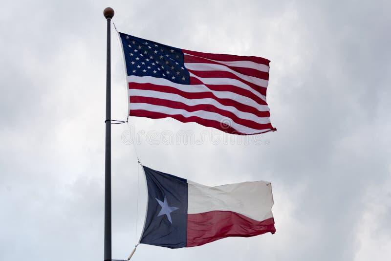Les Etats-Unis et indicateur d'état du Texas photographie stock