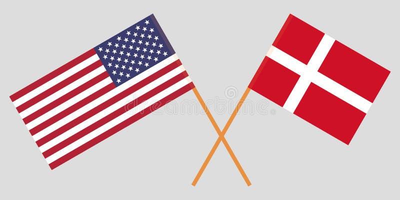 Les Etats-Unis et le Danemark Drapeaux américains et danois Couleurs officielles Proportion correcte Vecteur illustration stock