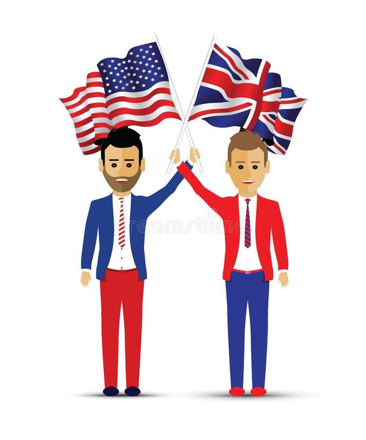 Les Etats-Unis et personnes de ondulation de drapeau britannique illustration de vecteur