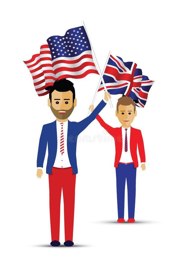 Les Etats-Unis et personnes de ondulation de drapeau britannique illustration stock
