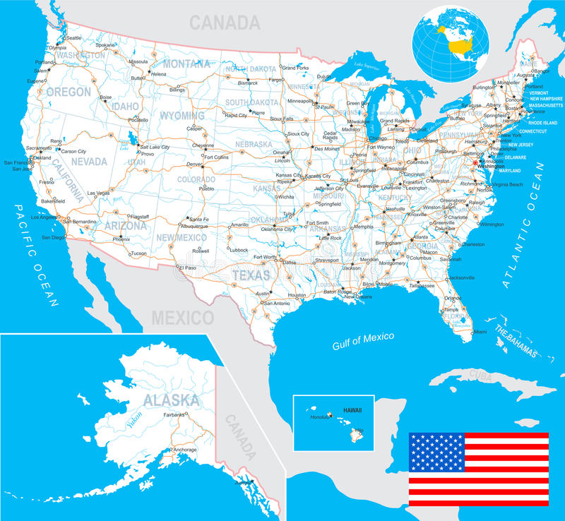 Les Etats-Unis (Etats-Unis) - carte, drapeau, labels de navigation, routes - illustration illustration stock