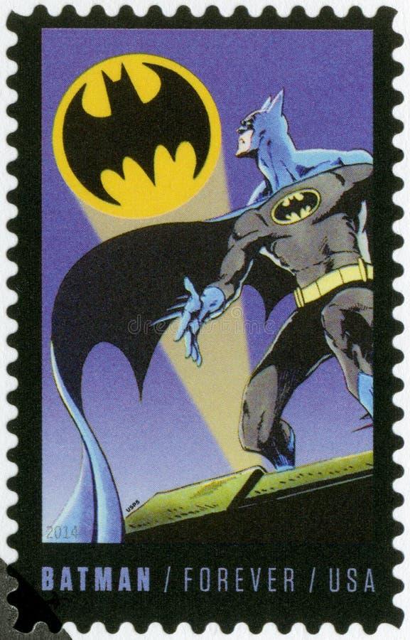 Les ETATS-UNIS - 2014 : expositions Batman, série le soixante-quinzième anniversaire des bandes dessinées d'un C.C images stock