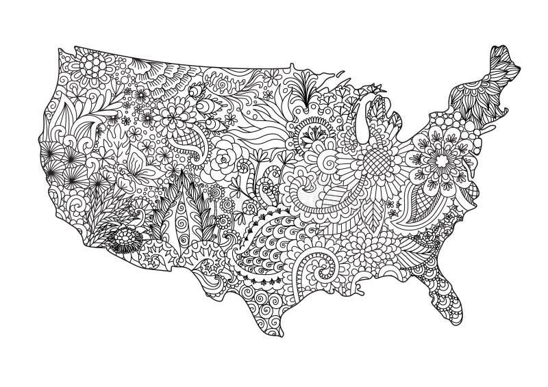 Les Etats-Unis floraux tracent pour l'élément de conception et la page de livre de coloriage d'adulte Illustration de vecteur illustration stock