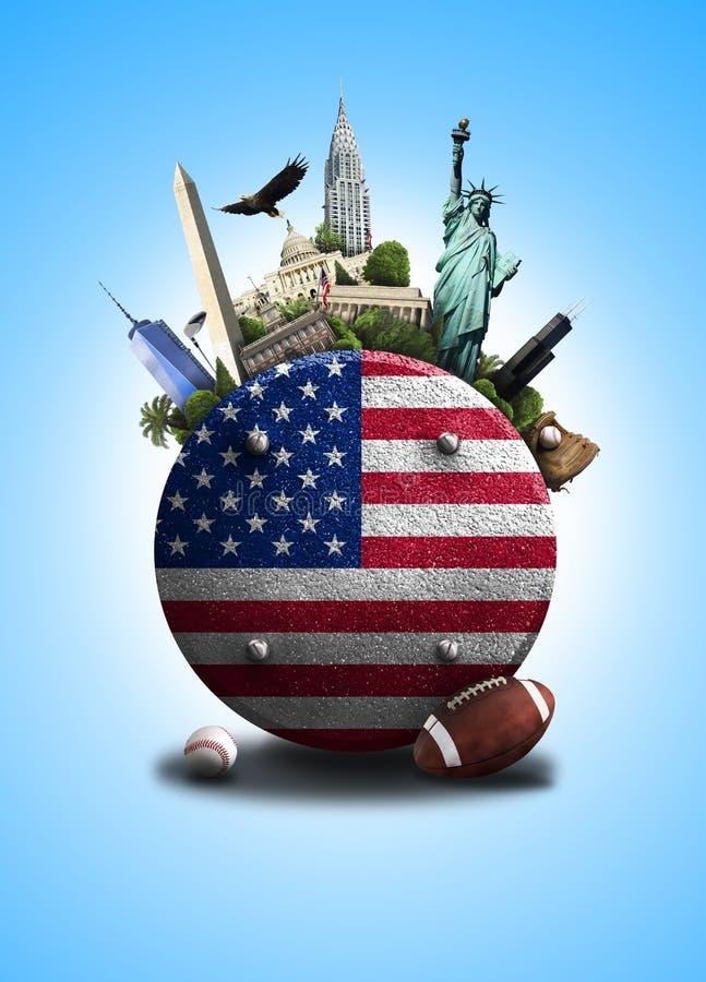 Les Etats-Unis, icône avec le drapeau américain et vues sur un fond bleu photos stock