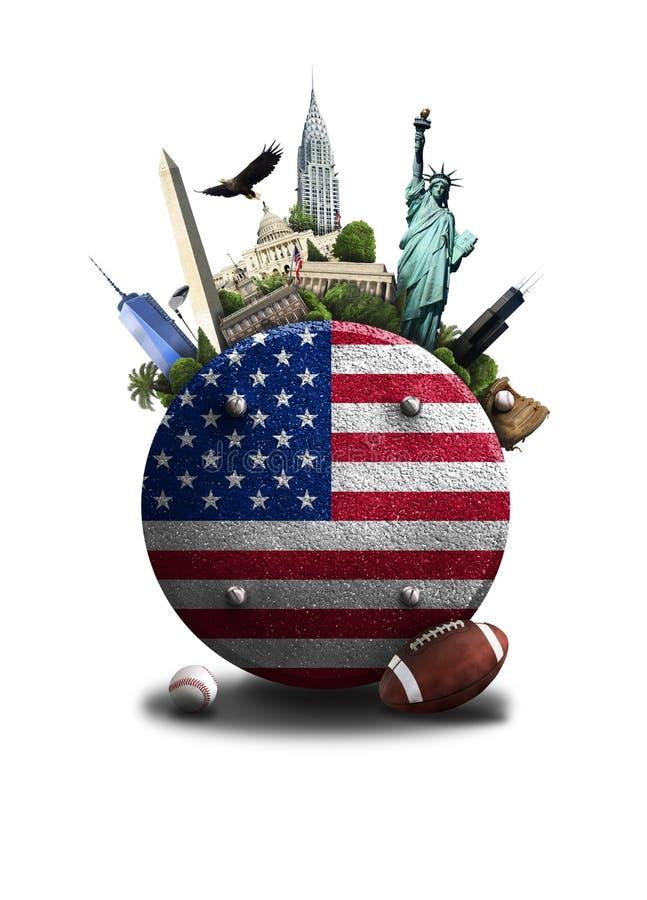 Les Etats-Unis, icône avec le drapeau américain et vues sur un fond bleu image stock