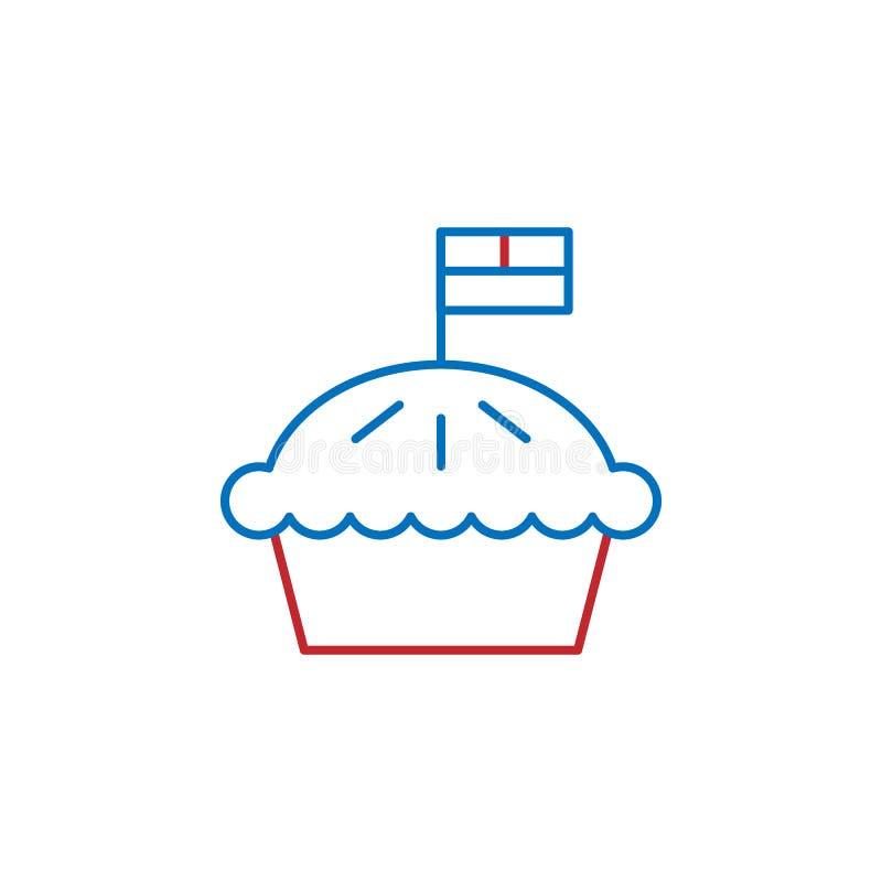 Les Etats-Unis, icône de tarte ?l?ment d'ic?ne de culture des Etats-Unis Ligne mince ic?ne pour la conception de site Web et le d illustration libre de droits