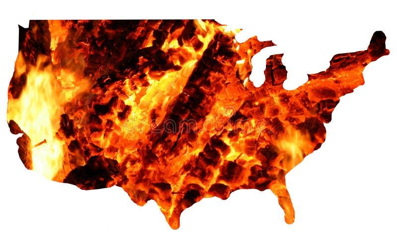 Les Etats-Unis + incendie photographie stock libre de droits