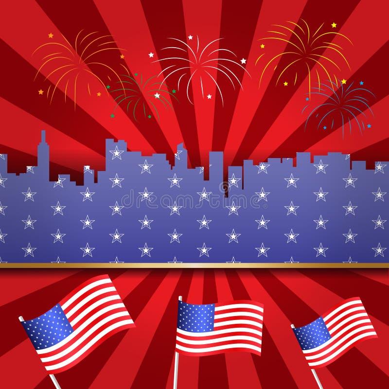 Les Etats-Unis Jour de la D?claration d'Ind?pendance 4 juillet heureux Conception de carte de voeux et d'affiche au sujet de quat illustration libre de droits