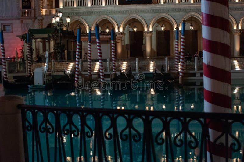 Les Etats-Unis, Las Vegas, Nevada, dans la ville de Venise, les Etats-Unis pendant la nuit photographie stock libre de droits