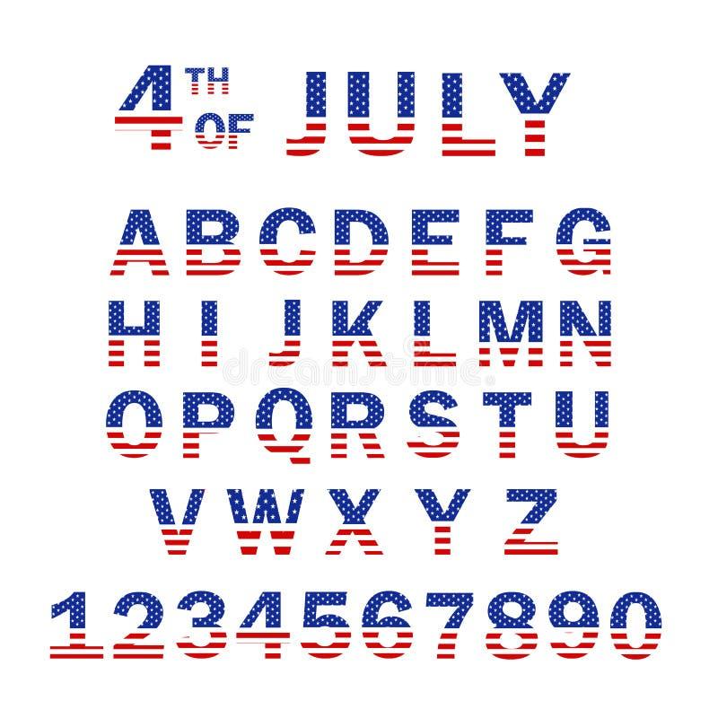 Les Etats-Unis marquent l'alphabet et les nombres 4ème de la création de fonte de style de drapeau de juillet Etats-Unis Calibre  illustration de vecteur