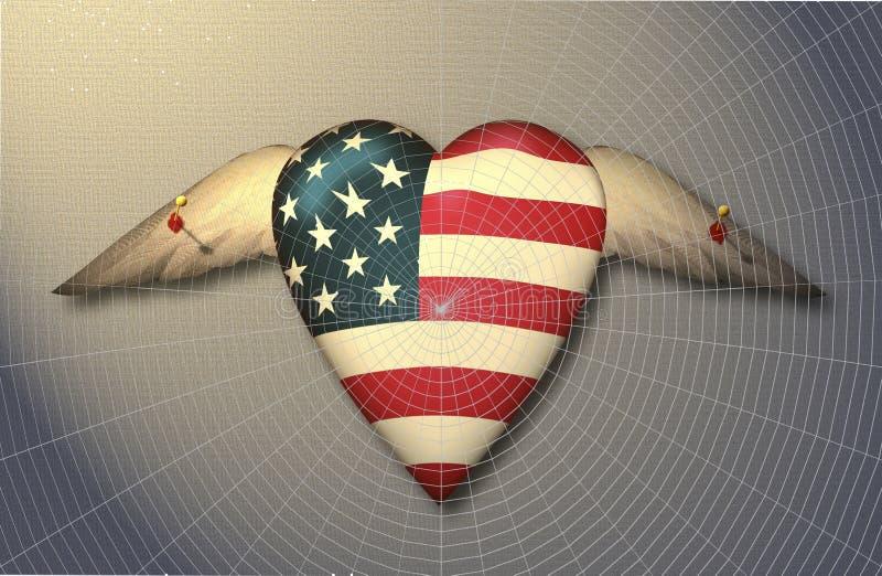 Les Etats-Unis marquent le coeur à ailes goupillé à la surface illustration stock