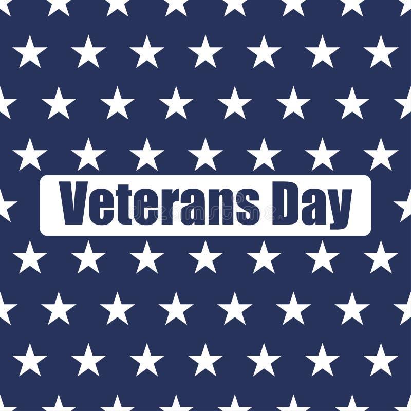 Les Etats-Unis marquent le modèle sans couture Étoiles de blanc sur un fond bleu Jour de vétérans illustration stock