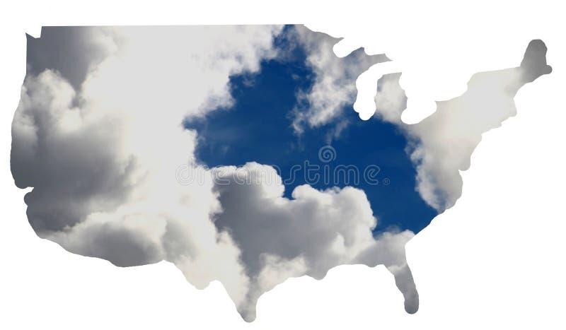Les Etats-Unis + nuage photo libre de droits