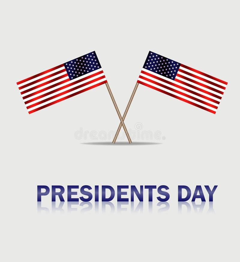 Les Etats-Unis ondulant des drapeaux au jour de présidents Bannière de Presidenta sur le fond gris Vecteur eps10 illustration de vecteur