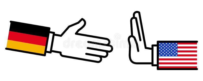 Les Etats-Unis refusant de serrer la main à l'Allemagne, conflit, négociations, relations d'affaires, concept, ligne icônes illustration de vecteur