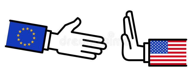 Les Etats-Unis refusant de serrer la main à l'UE, conflit, négociations, relations d'affaires, concept, ligne icônes illustration de vecteur