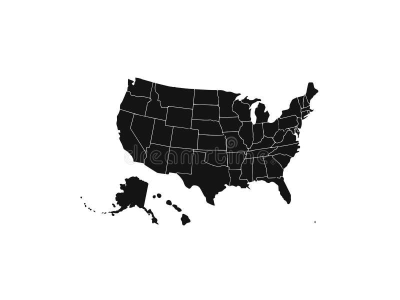 Les Etats-Unis semblables vides tracent d'isolement sur le fond blanc Pays des Etats-Unis d'Amérique Calibre de vecteur pour le s illustration libre de droits