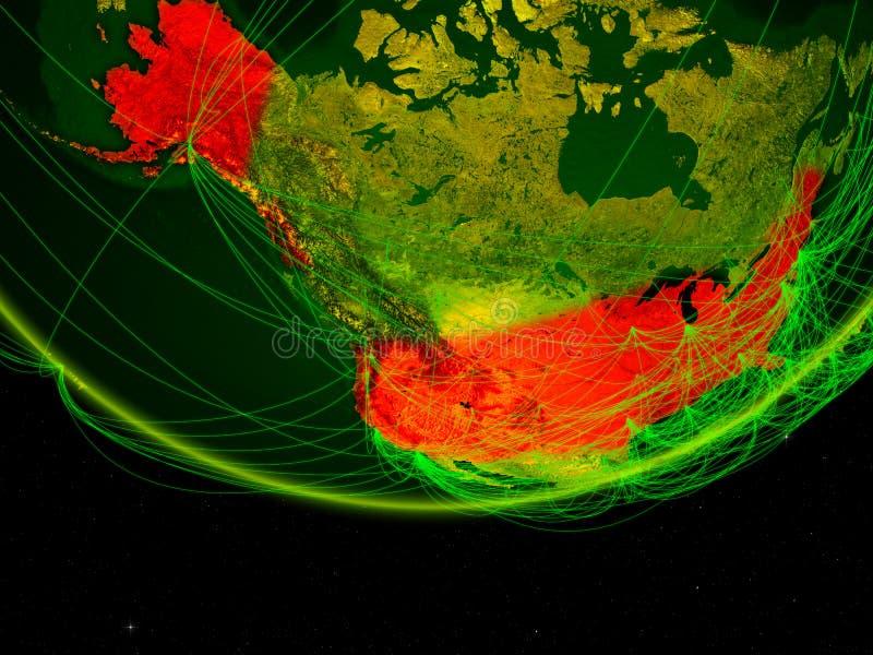 Les Etats-Unis sur le modèle vert de la terre de planète avec le réseau représentant l'ère numérique, le voyage et la communicati illustration stock