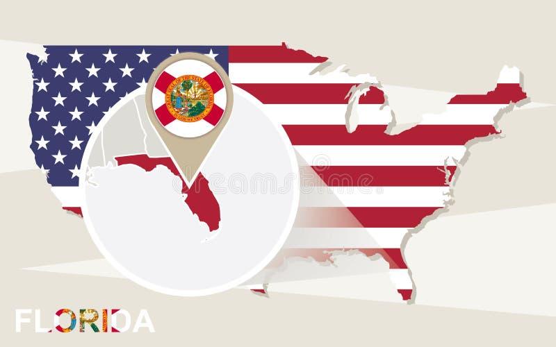Les Etats-Unis tracent avec l'état magnifié de la Floride Drapeau et carte de la Floride illustration stock