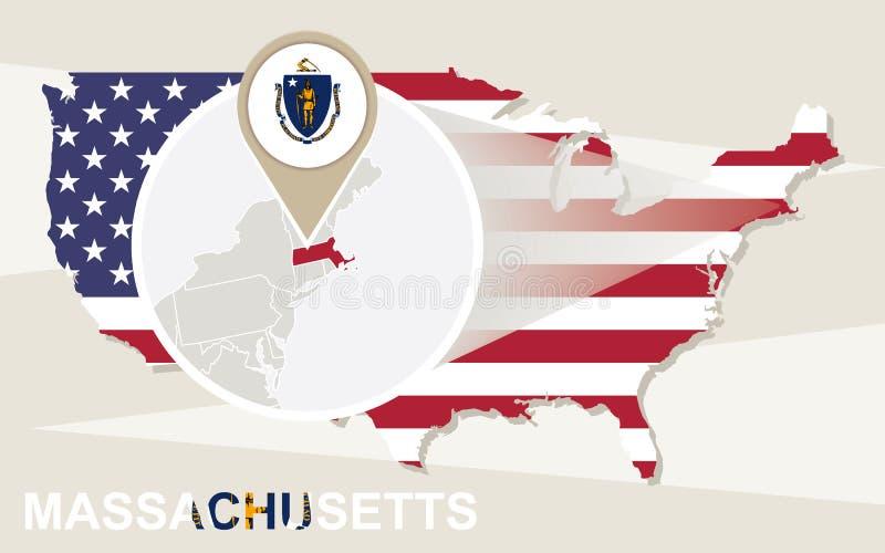 Les Etats-Unis tracent avec l'état magnifié du Massachusetts Drapeau a du Massachusetts illustration stock
