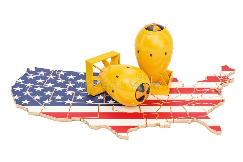 Les Etats-Unis tracent avec le concept d'arme nucléaire, 3D illustration stock