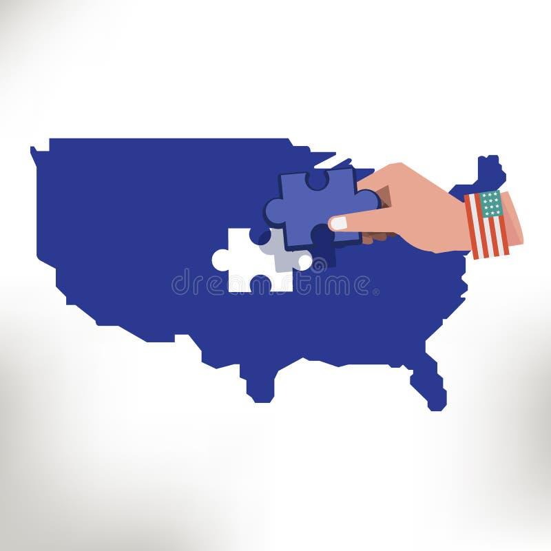 Les Etats-Unis tracent avec manquer de morceau le vecteur denteux à disposition - illustration libre de droits