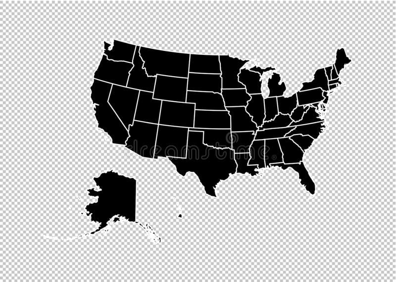 Les Etats-Unis tracent - la haute carte noire détaillée avec des comtés/régions/états d'état uni de l'Amérique nous tracer d'isol illustration stock