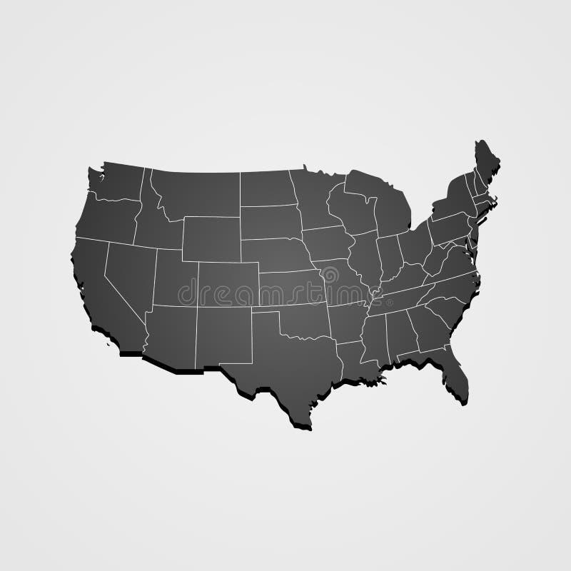 Les Etats-Unis tracent le vecteur, le VECTEUR de CARTE des USA, VECTEUR de CARTE des ETATS-UNIS D'AMÉRIQUE avec le fond gris illustration stock