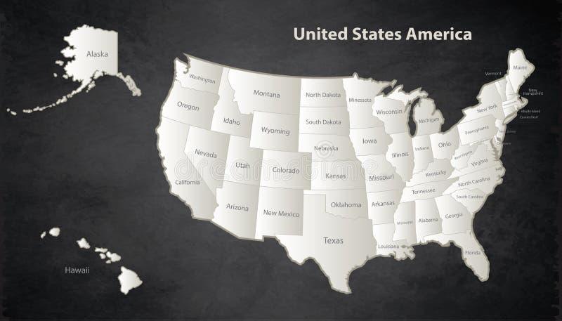 Les Etats-Unis tracent tableau noir individuel distinct de blanc avec de l'Alaska et d'Hawaï de carte noir illustration libre de droits