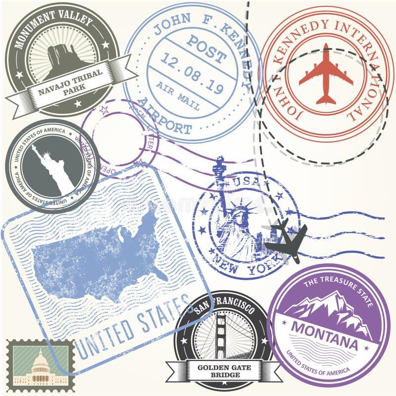 Les Etats-Unis voyagent des timbres réglés - des symboles de voyage des Etats-Unis illustration libre de droits