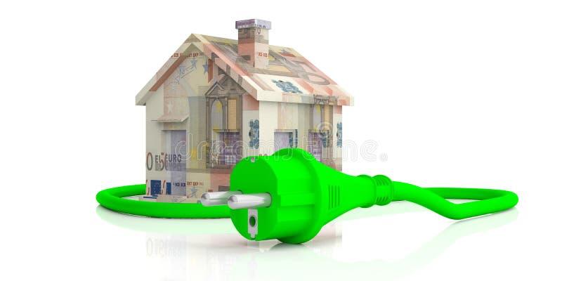 Les euro billets de banque logent et verdissent la prise de courant électrique d'isolement sur le fond blanc illustration 3D illustration de vecteur