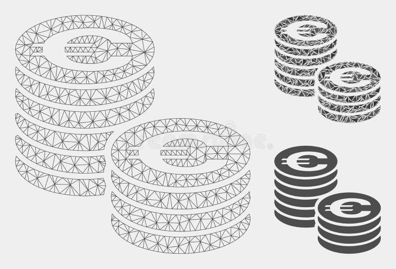 Les euro colonnes de pièce de monnaie dirigent icône de mosaïque de modèle et de triangle de maille la 2D illustration stock