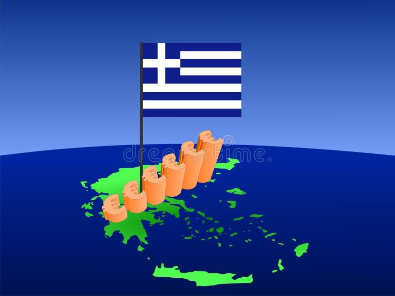 Les euro représentent graphiquement sur la carte de la Grèce illustration libre de droits