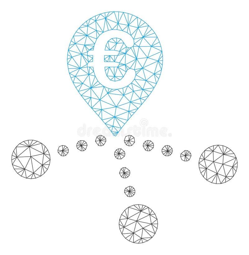 Les euro succursales bancaires dirigent Mesh Network Model illustration stock