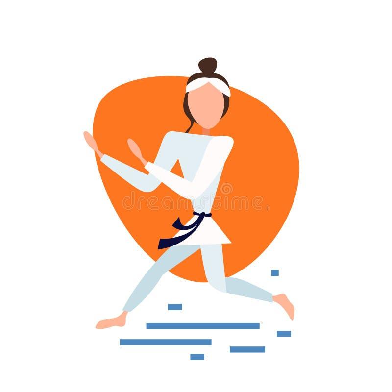 Les exercices de kimono de femme de karaté posent sur l'appartement intégral de personnage de dessin animé femelle blanc de fond illustration de vecteur