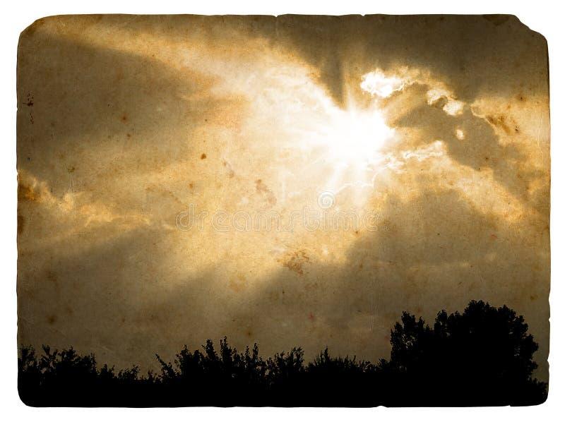 Les faisceaux du soleil se sont fermés par un nuage. Vieille carte postale. illustration de vecteur