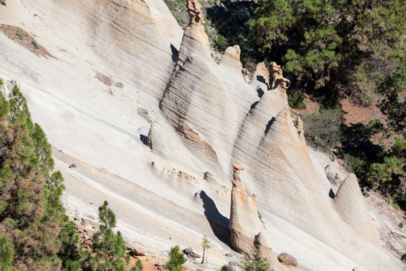 Les falaises blanches de sable est les montagnes pittoresques du paysage lunaire Paisaje lunaire Village de Vilaflor, Ténérife, c image stock