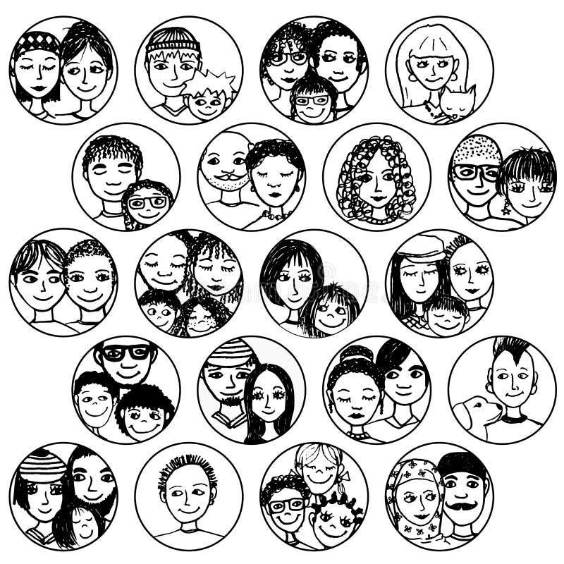 Les familles, couples, amis, enfants de mêmes parents, choisit multiculturel, multi-ethnique, mélangé et patchwork illustration de vecteur