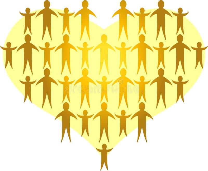 Les familles forment un Heart/ai d'or illustration de vecteur