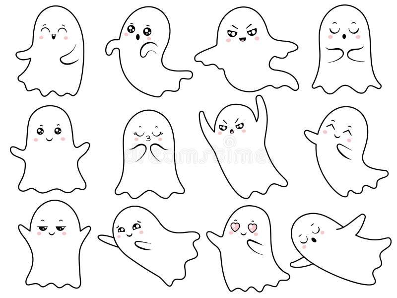 Les fantômes fantasmagoriques de Halloween de fantôme mignon de kawaii, le spectre de sourire et le caractère fantomatique effray illustration libre de droits