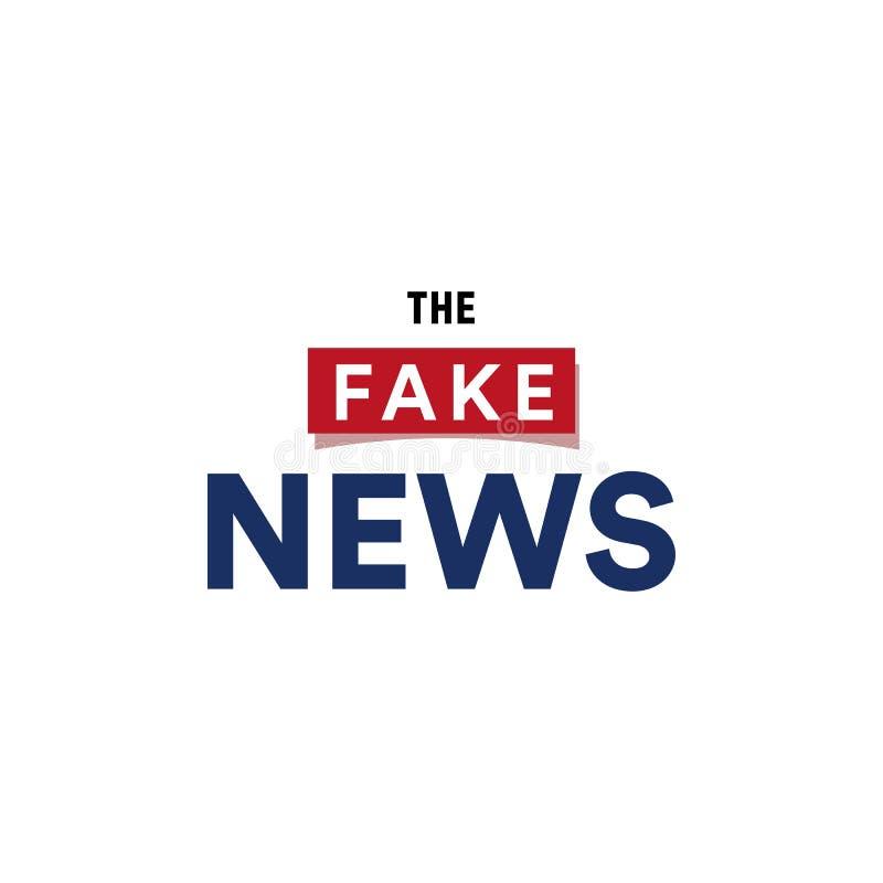 Les fausses informations, logo minimalistic faux des textes d'émission de dernières nouvelles, illustration de vecteur sur le fon illustration stock