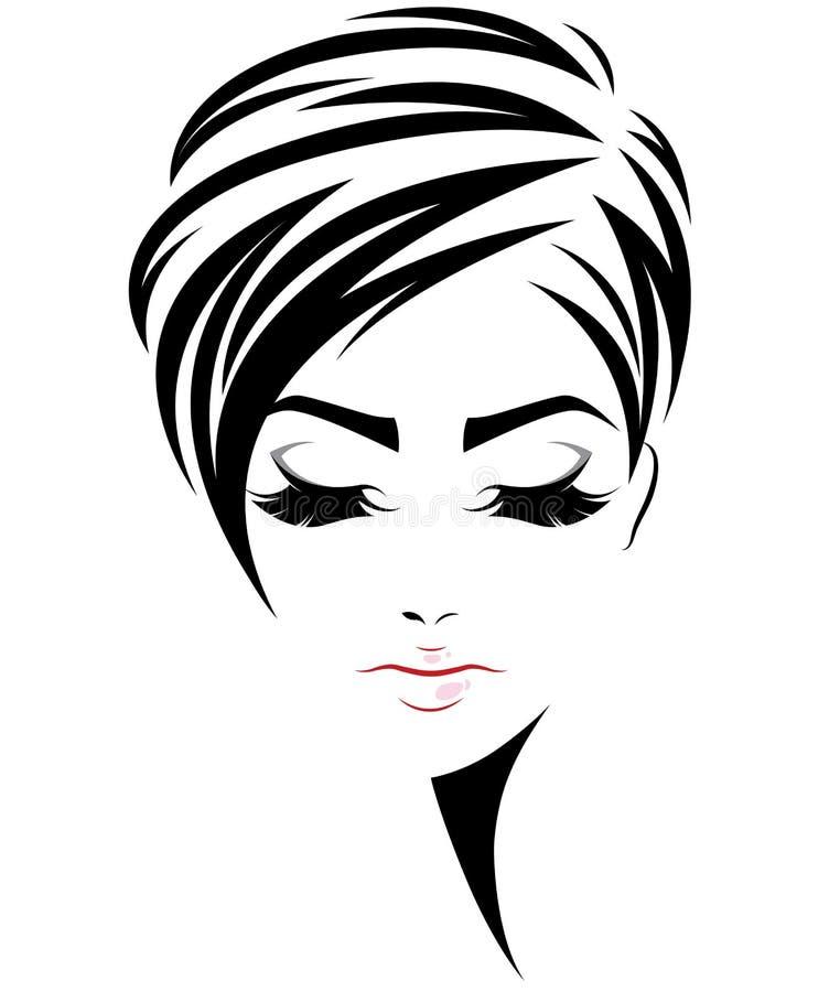 Les femmes court-circuitent l'icône de coiffure, visage de femmes de logo sur le fond blanc illustration stock