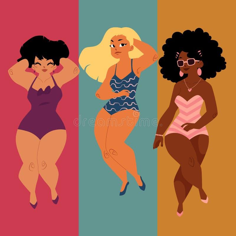 Les femmes dodues et sinueuses, filles, plus la taille modèle dans des costumes de natation illustration libre de droits