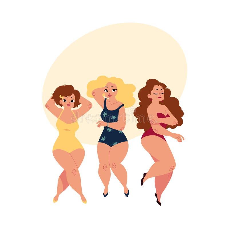 Les femmes dodues et sinueuses, filles, plus la taille modèle dans des costumes de natation illustration stock
