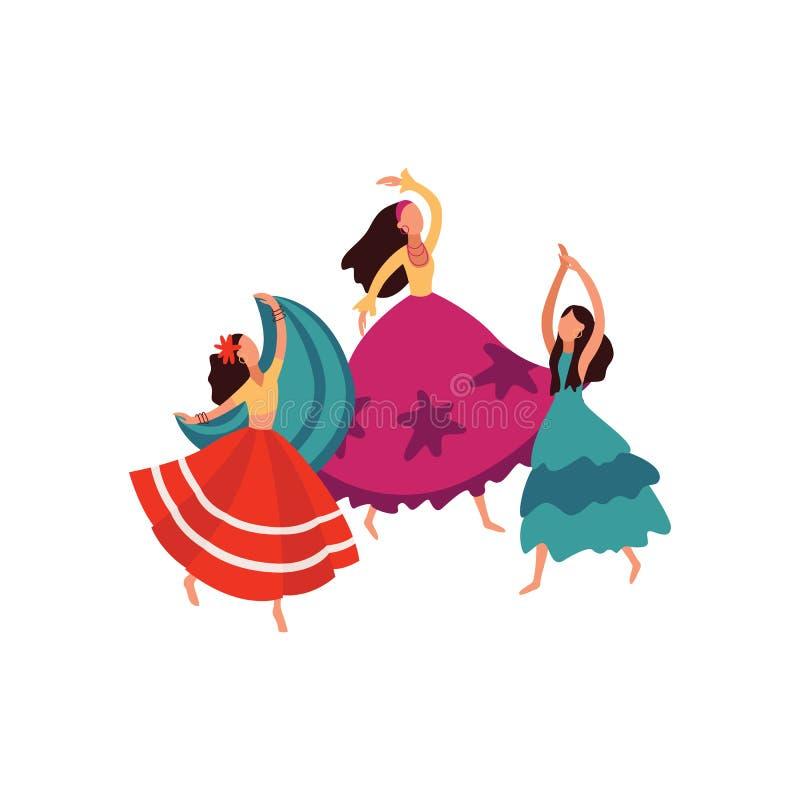 Les femmes et les filles tziganes dansent dans de belles jupes luxuriantes illustration stock