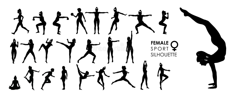 Les femmes féminines folâtrent, dansent, combattent l'ensemble du vecteur 25 de silhouette image libre de droits